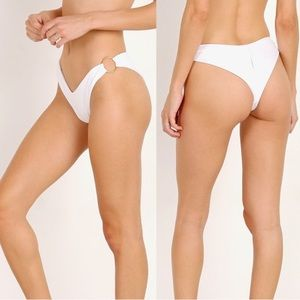 L*Space Dana Bikini Bottom Bitsy Cut in White